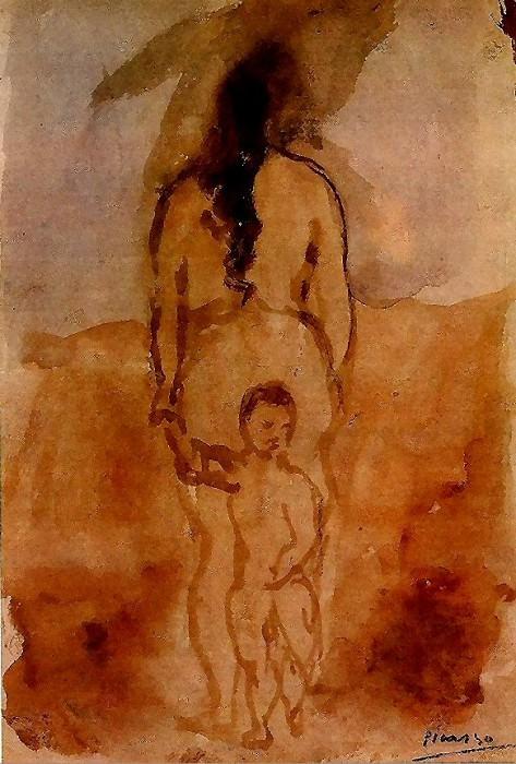 1906 Femme nue vue de dos avec enfant. Pablo Picasso (1881-1973) Period of creation: 1889-1907