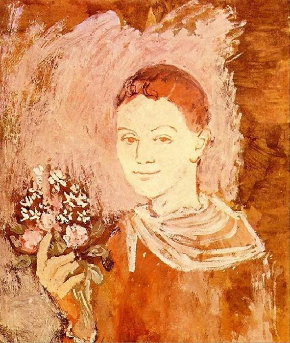 1905 GarЗon avec un bouquet de fleurs. Пабло Пикассо (1881-1973) Период: 1889-1907