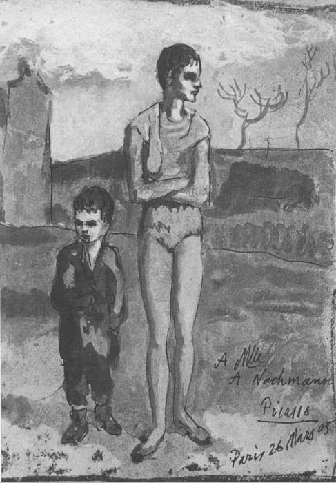 1905 Jeune acrobat et enfant. Пабло Пикассо (1881-1973) Период: 1889-1907