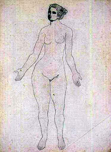 1903 Etude de nu debout. Пабло Пикассо (1881-1973) Период: 1889-1907