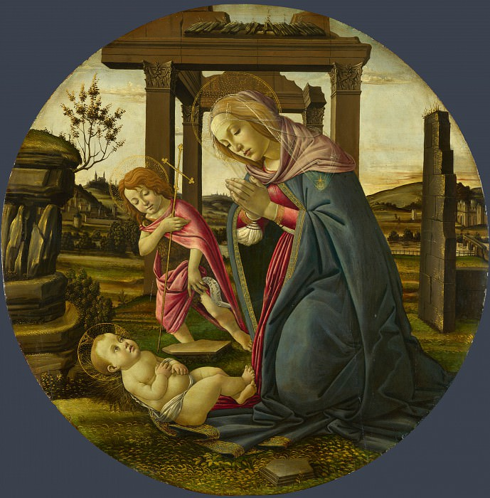 Workshop of Sandro Botticelli - The Virgin and Child with Saint John the Baptist. Part 6 National Gallery UK