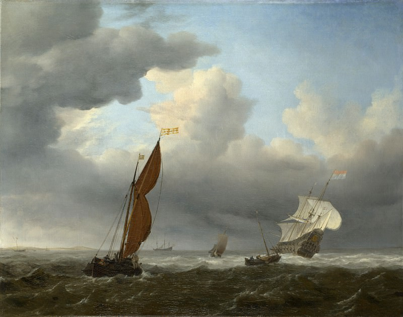 Willem van de Velde - A Dutch Ship and Other Small Vessels in a Strong Breeze. Part 6 National Gallery UK