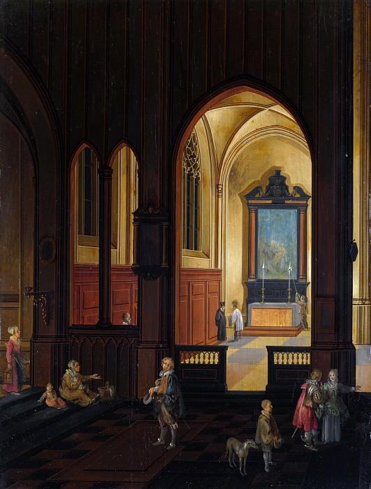 Studio of Pieter Neeffs the Elder - View of a Chapel at Evening. Part 6 National Gallery UK