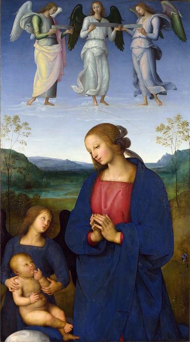 Пьетро Перуджино - Мадонна с Младенцем и ангелом (панель из алтаря картезианского монастыря). Часть 6 Национальная галерея