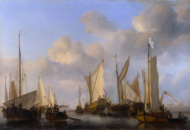 Виллем ван де Вельде - Салютующая голландская яхта. Часть 6 Национальная галерея