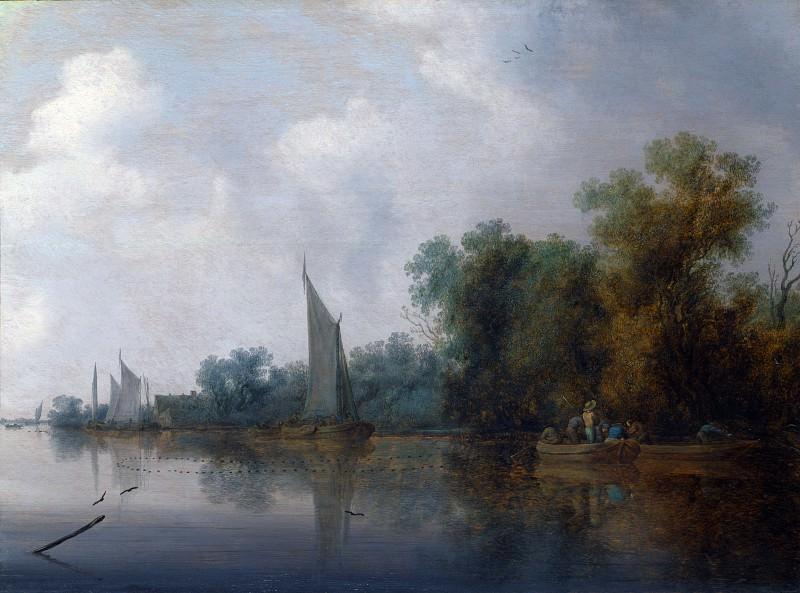 Salomon van Ruysdael - A River with Fishermen drawing a Net. Part 6 National Gallery UK