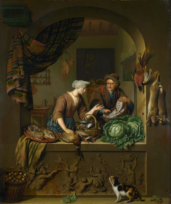 Willem van Mieris - A Woman and a Fish-pedlar in a Kitchen. Part 6 National Gallery UK