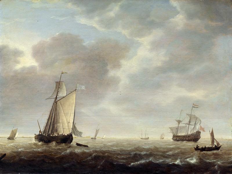 Simon de Vlieger - A Dutch Man-of-war and Various Vessels in a Breeze. Part 6 National Gallery UK