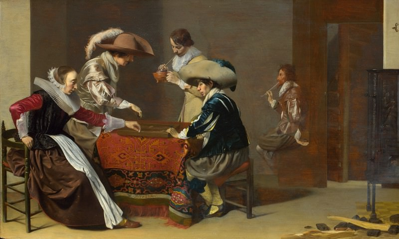 Willem Duyster - Two Men playing Tric-trac, with a Woman scoring. Part 6 National Gallery UK