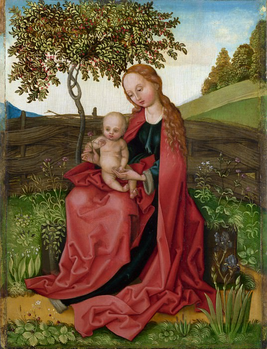 Style of Martin Schongauer - The Virgin and Child in a Garden. Part 6 National Gallery UK