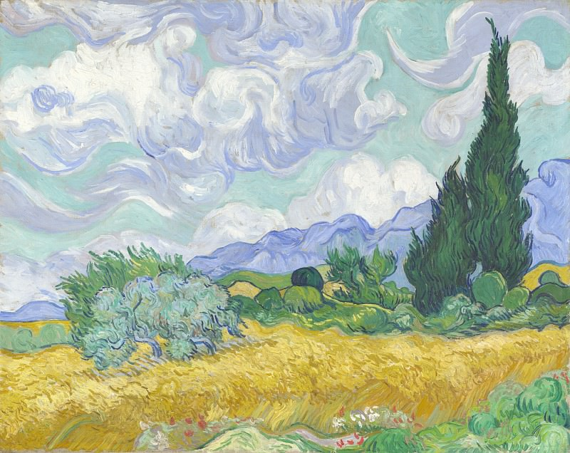 Vincent van Gogh - A Wheatfield, with Cypresses. Part 6 National Gallery UK