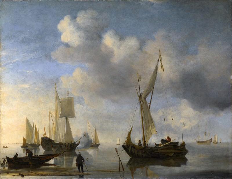 Willem van de Velde - Dutch Vessels lying Inshore in a Calm, one Saluting. Part 6 National Gallery UK