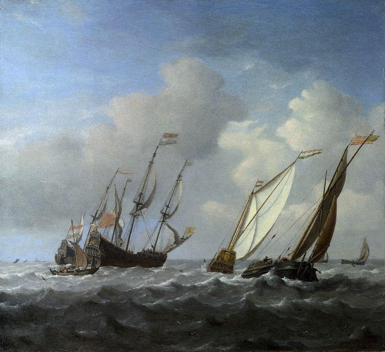 Willem van de Velde - A Dutch Ship, a Yacht and Smaller Vessels in a Breeze. Part 6 National Gallery UK