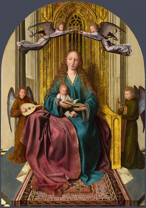 Quinten Massys - The Virgin and Child Enthroned, with Four Angels. Part 6 National Gallery UK