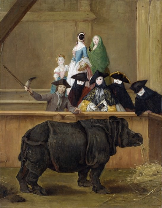Pietro Longhi - Exhibition of a Rhinoceros at Venice. Part 6 National Gallery UK