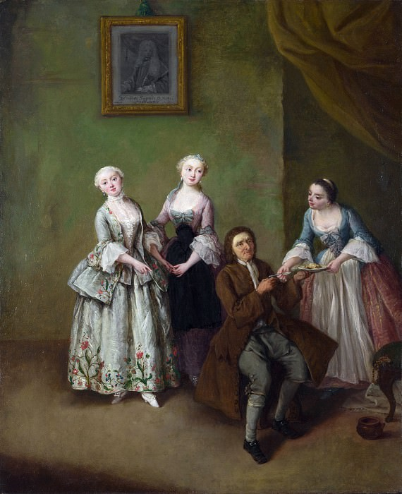 Pietro Longhi - An Interior with Three Women and a Seated Man. Part 6 National Gallery UK