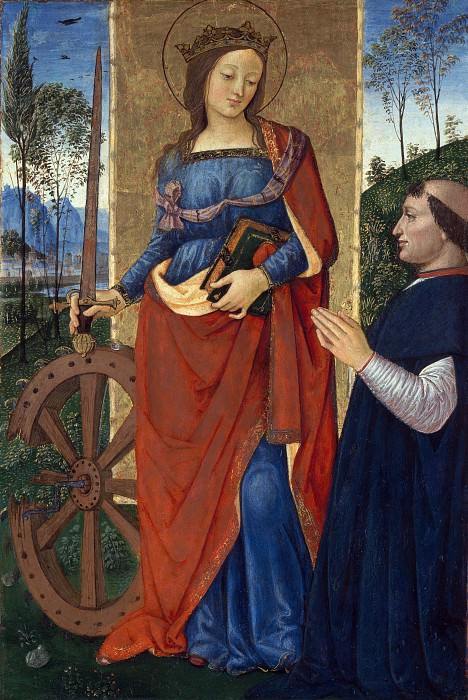 Pintoricchio - Saint Catherine of Alexandria with a Donor. Part 6 National Gallery UK