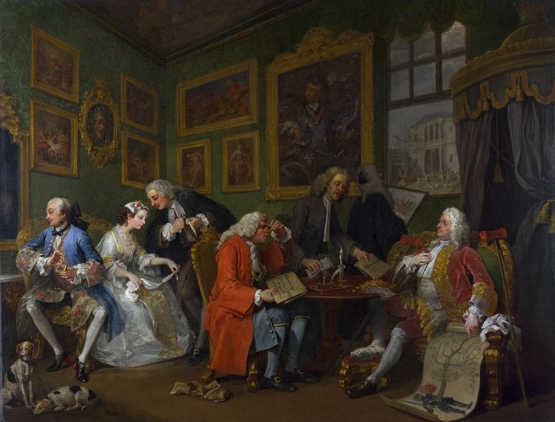William Hogarth - Marriage A-la-Mode - 1, The Marriage Settlement. Part 6 National Gallery UK