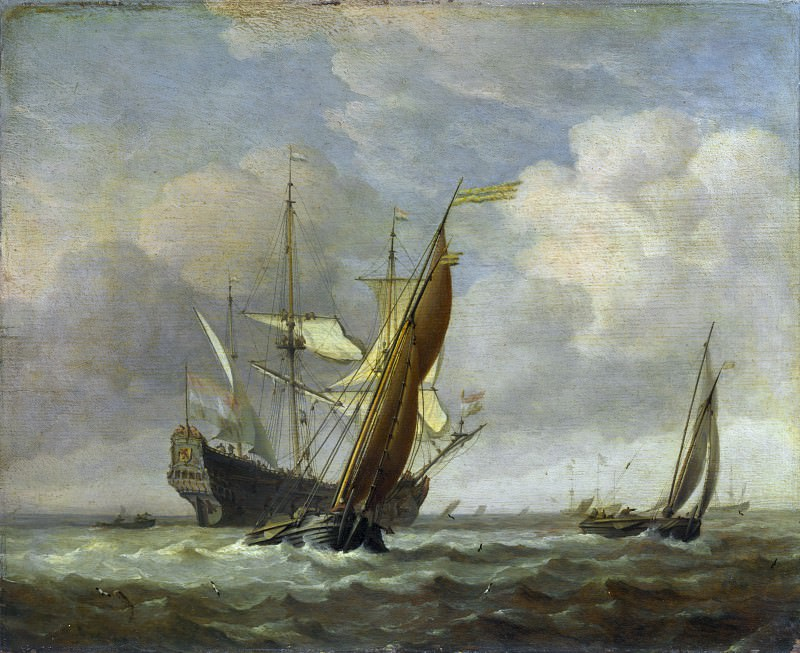 Willem van de Velde - Two Small Vessels and a Dutch Man-of-War in a Breeze. Part 6 National Gallery UK