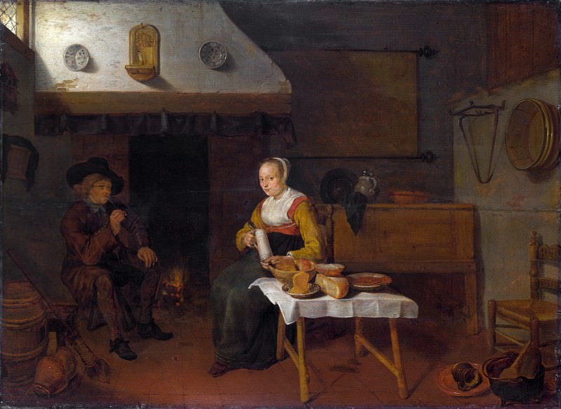 Quiringh van Brekelenkam - An Interior, with a Man and a Woman seated by a Fire. Part 6 National Gallery UK