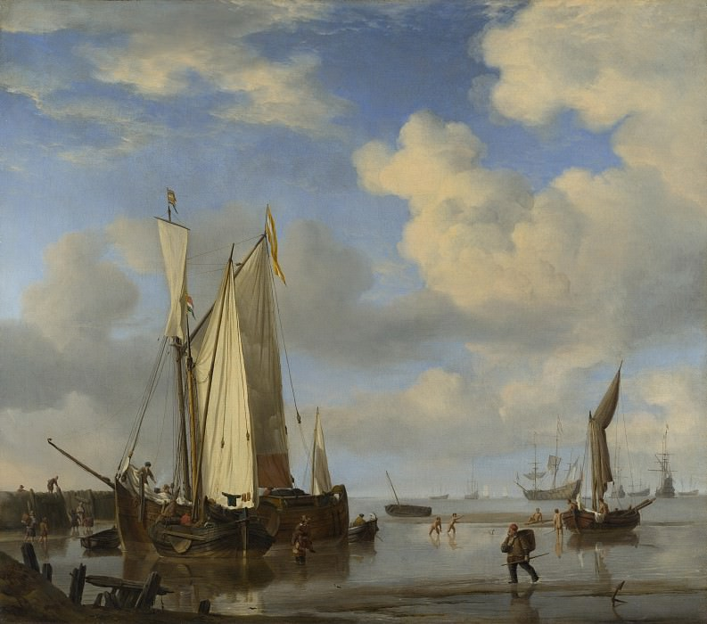 Willem van de Velde - Dutch Vessels Inshore and Men Bathing. Part 6 National Gallery UK