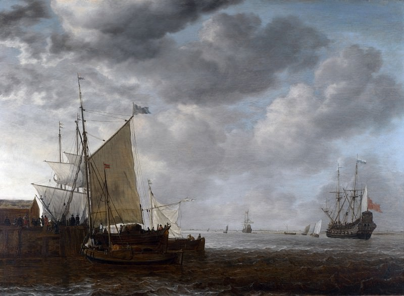Simon de Vlieger - A View of an Estuary. Part 6 National Gallery UK