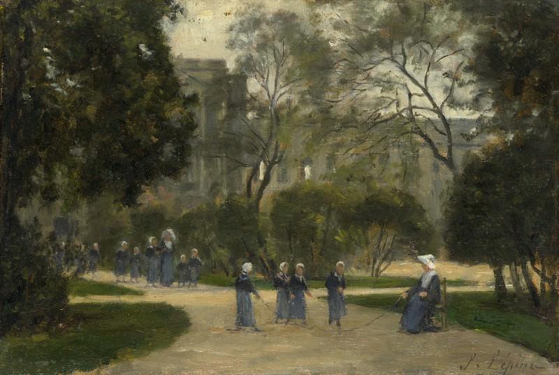 Stanislas Victor Edmond Lepine - Nuns and Schoolgirls in the Tuileries Gardens, Paris. Part 6 National Gallery UK