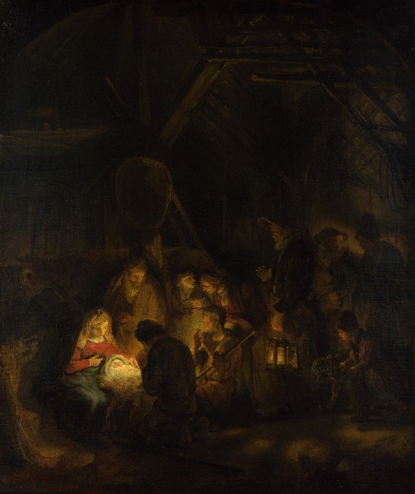 Adoration of the Shepherds(attr). Rembrandt Harmenszoon Van Rijn