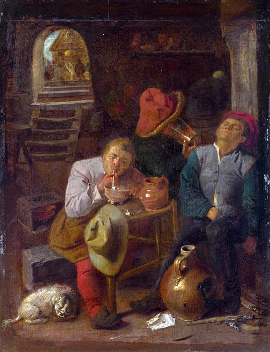 Style of Adriaen Brouwer - Four Peasants in a Cellar. Part 6 National Gallery UK