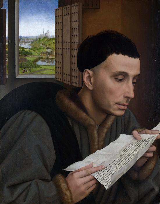 Workshop of Rogier van der Weyden - A Man Reading (Saint Ivo). Part 6 National Gallery UK