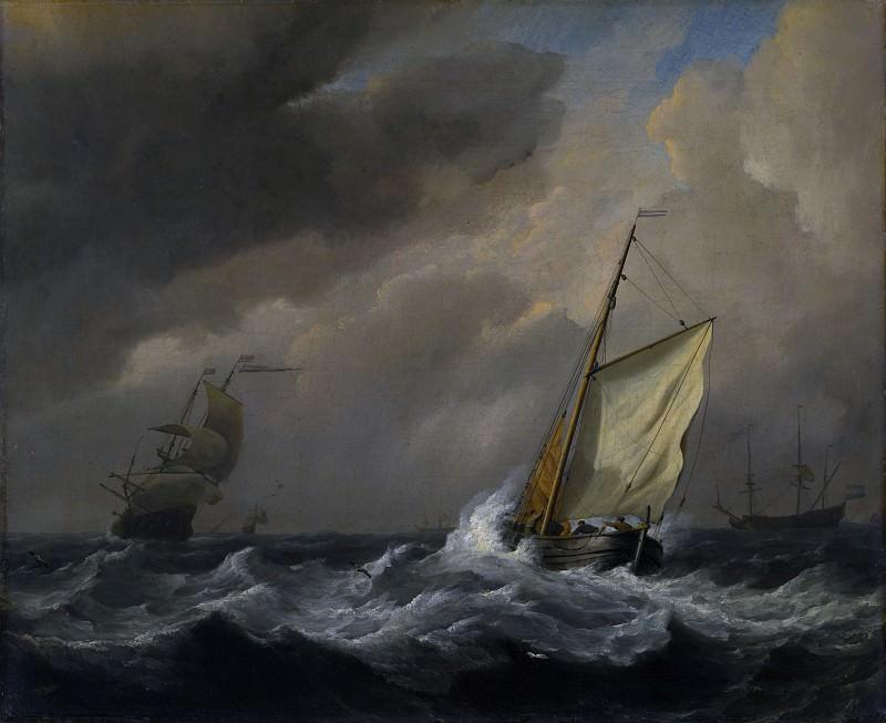 Willem van de Velde - A Small Dutch Vessel close-hauled in a Strong Breeze. Part 6 National Gallery UK