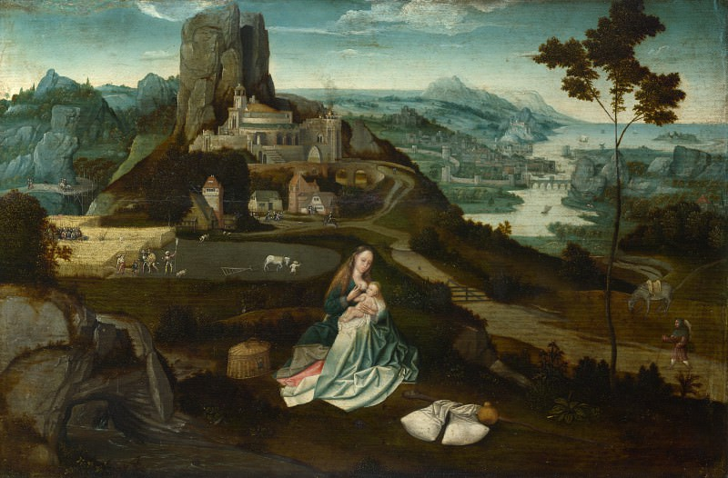 Workshop of Joachim Patinir - Landscape with the Rest on the Flight into Egypt. Part 6 National Gallery UK