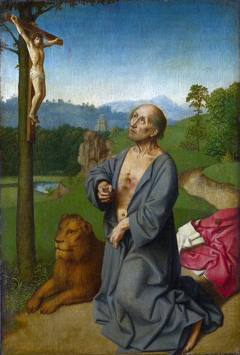 Workshop of Gerard David - Saint Jerome in a Landscape. Part 6 National Gallery UK
