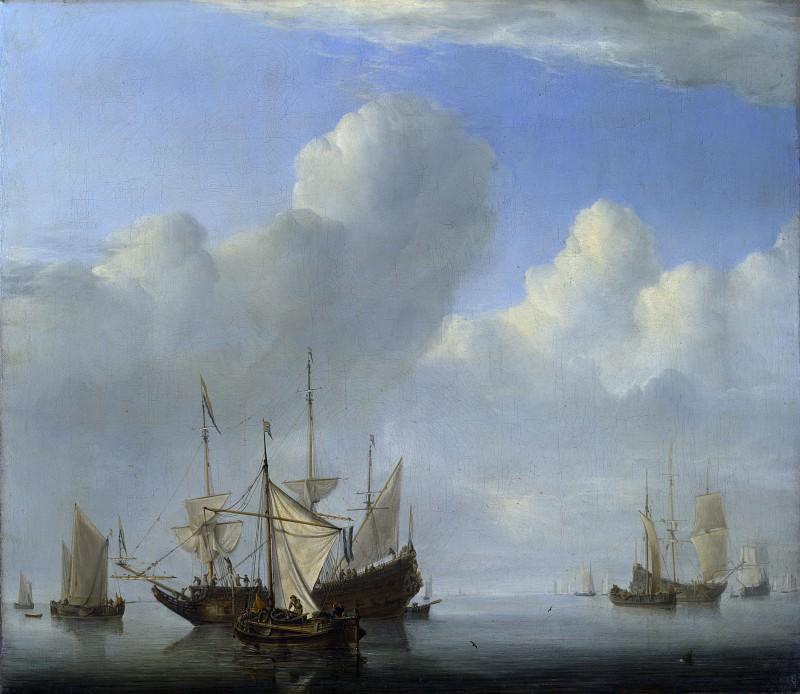 Willem van de Velde - A Dutch Ship coming to Anchor. Part 6 National Gallery UK