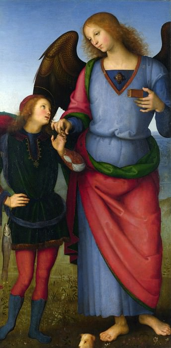 Pietro Perugino - The Archangel Raphael with Tobias. Part 6 National Gallery UK