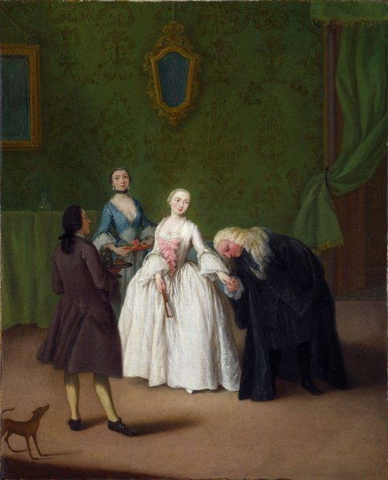 Pietro Longhi - A Nobleman kissing a Ladys Hand. Part 6 National Gallery UK