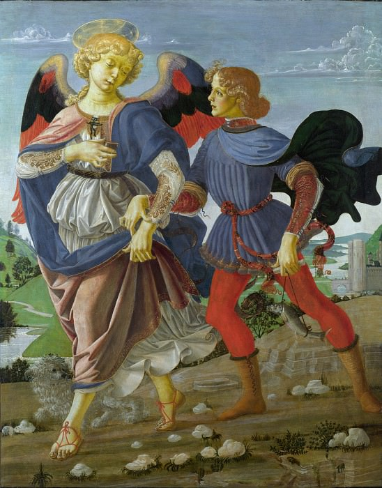 Workshop of Andrea del Verrocchio - Tobias and the Angel. Part 6 National Gallery UK