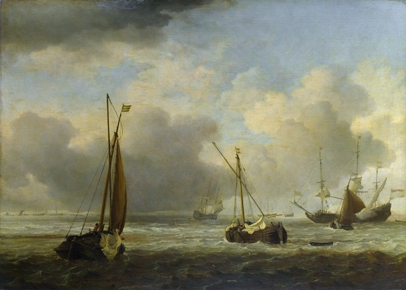 Willem van de Velde - Dutch Ships and Small Vessels Offshore in a Breeze. Part 6 National Gallery UK