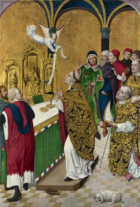 Workshop of the Master of the Life of the Virgin - The Mass of Saint Hubert - Right Hand Shutter. Part 6 National Gallery UK