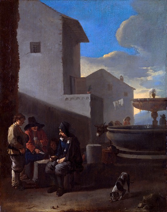 Jan Lingelbach (Attributed to) - Roman Street Scene with Card Players. Part 6 National Gallery UK