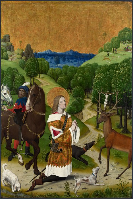Workshop of the Master of the Life of the Virgin - The Conversion of Saint Hubert - Left Hand Shutter. Part 6 National Gallery UK