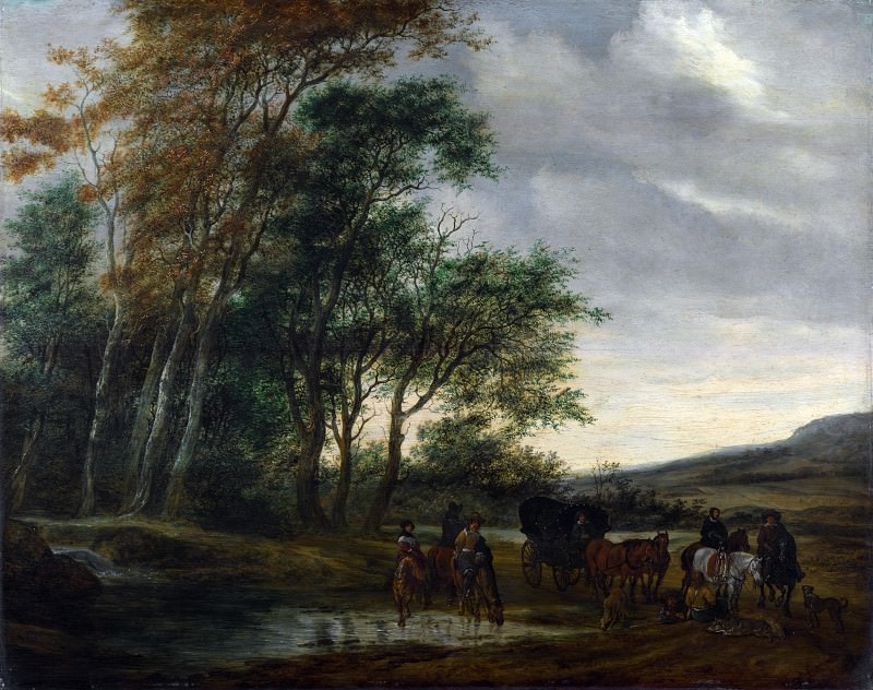 Salomon van Ruysdael - A Landscape with a Carriage and Horsemen at a Pool. Part 6 National Gallery UK