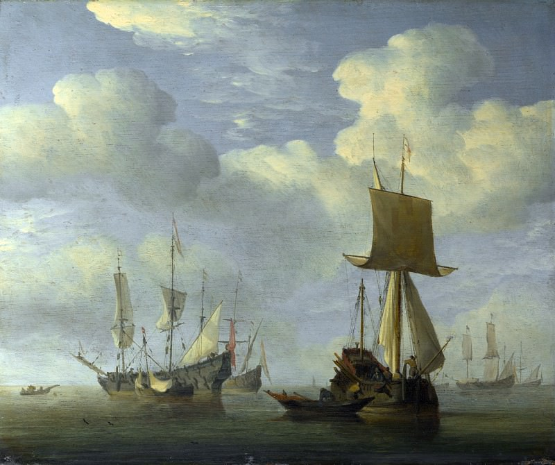 Willem van de Velde - An English Vessel and Dutch Ships Becalmed. Part 6 National Gallery UK