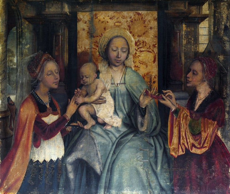 Quinten Massys - The Virgin and Child with Saints Barbara and Catherine. Part 6 National Gallery UK