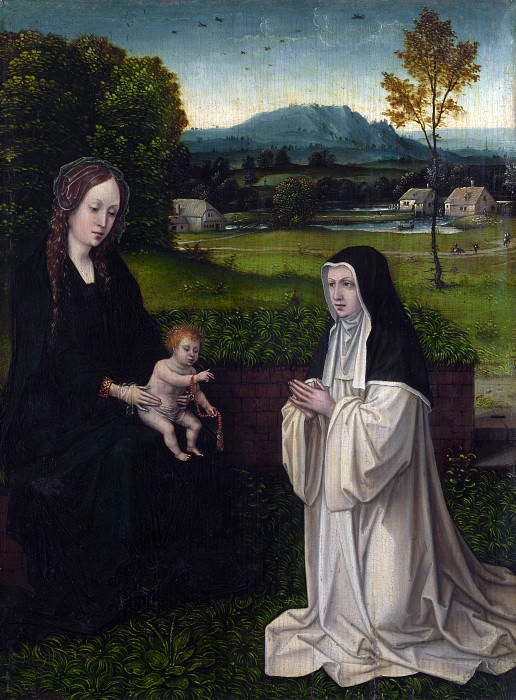 Style of Joachim Patinir - The Virgin and Child with a Cistercian Nun. Part 6 National Gallery UK