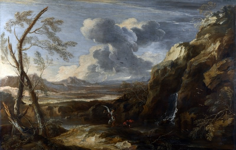 Salvator Rosa - Landscape with Tobias and the Angel. Part 6 National Gallery UK