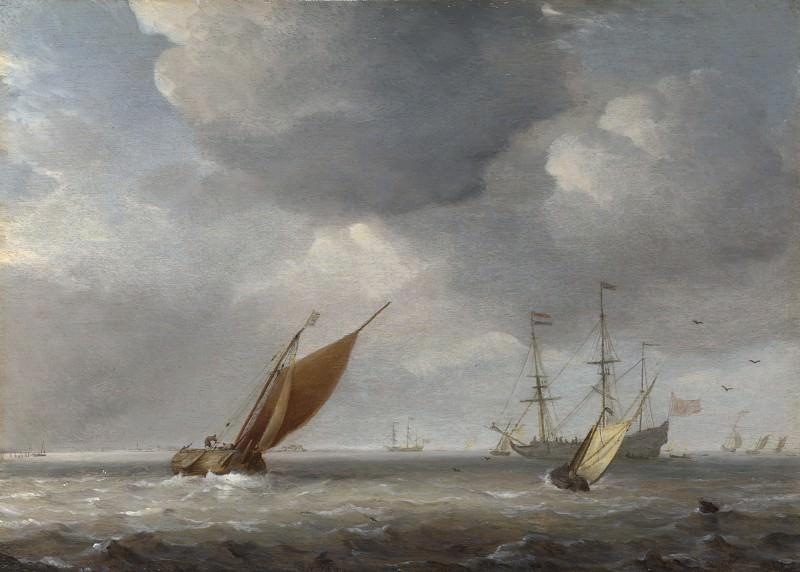 Studio of Willem van de Velde - Small Dutch Vessels in a Breeze. Part 6 National Gallery UK