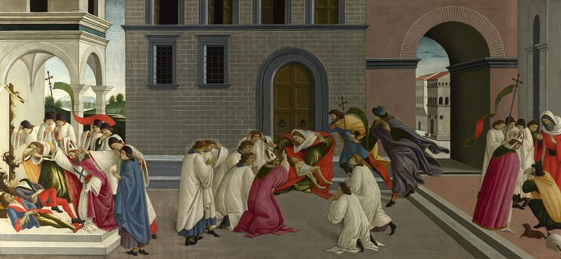 Scenes from the Life of Saint Zenobius - Three Miracles of Saint Zenobius. Alessandro Botticelli
