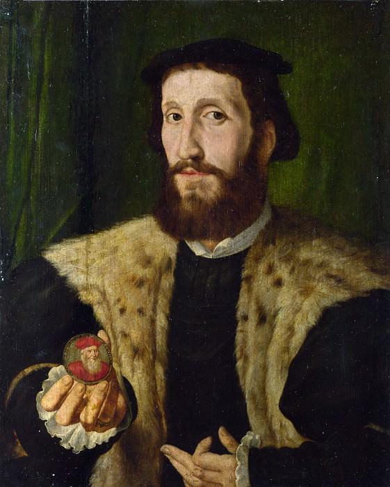 Style of Jan Cornelisz. Vermeyen - A Man holding a Coloured Medal. Part 6 National Gallery UK