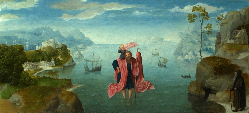 Style of the Master of the Female Half-Lengths - Saint Christopher carrying the Infant Christ. Part 6 National Gallery UK